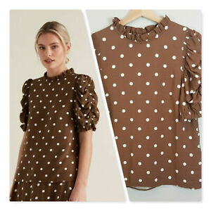 SEED-HERITAGE-Womens-Spot-Print-Victorian-Top-NEW-Size-AU-8-or-US-4