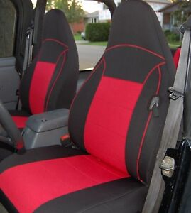 Brilliant Details About 1997 2002 Jeep Wrangler Tj Custom Neoprene Seat Covers Front Set Red Tj127Frt Dailytribune Chair Design For Home Dailytribuneorg