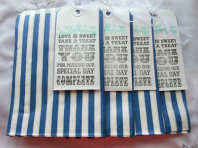 40 Navy Blue & White Stripe Sweet Paper Bags 4 tags Wedding Candy Bar Favour Bag