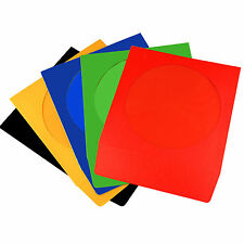 50 CD Coloured Paper Sleeves with Window and Flap - 50 pack