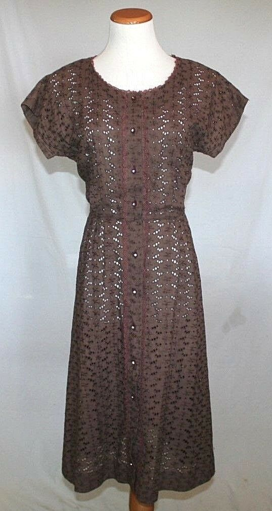 Vintage Ann Colby Dress 10 12 Fit Flare Day Brown Eyelet Dolman Sleeve T05