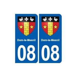 08 Dom-le-mesnil Blason Ville Autocollant Plaque Stickers - Angles : Arrondis