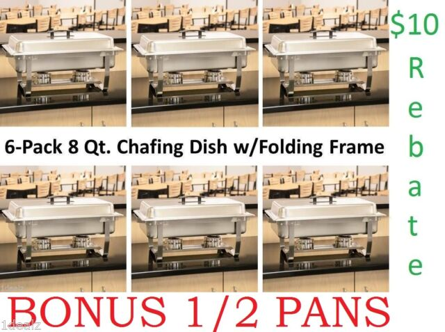 6 Pack Full Size 8 Qt Stainless Chafing Dishes Folding Frames Rebate 1