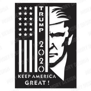 Usa Trump 2020 Dxf File For Cnc Plasma Router Laser Cut Vector Dxf Cdr Svg Eps Ebay