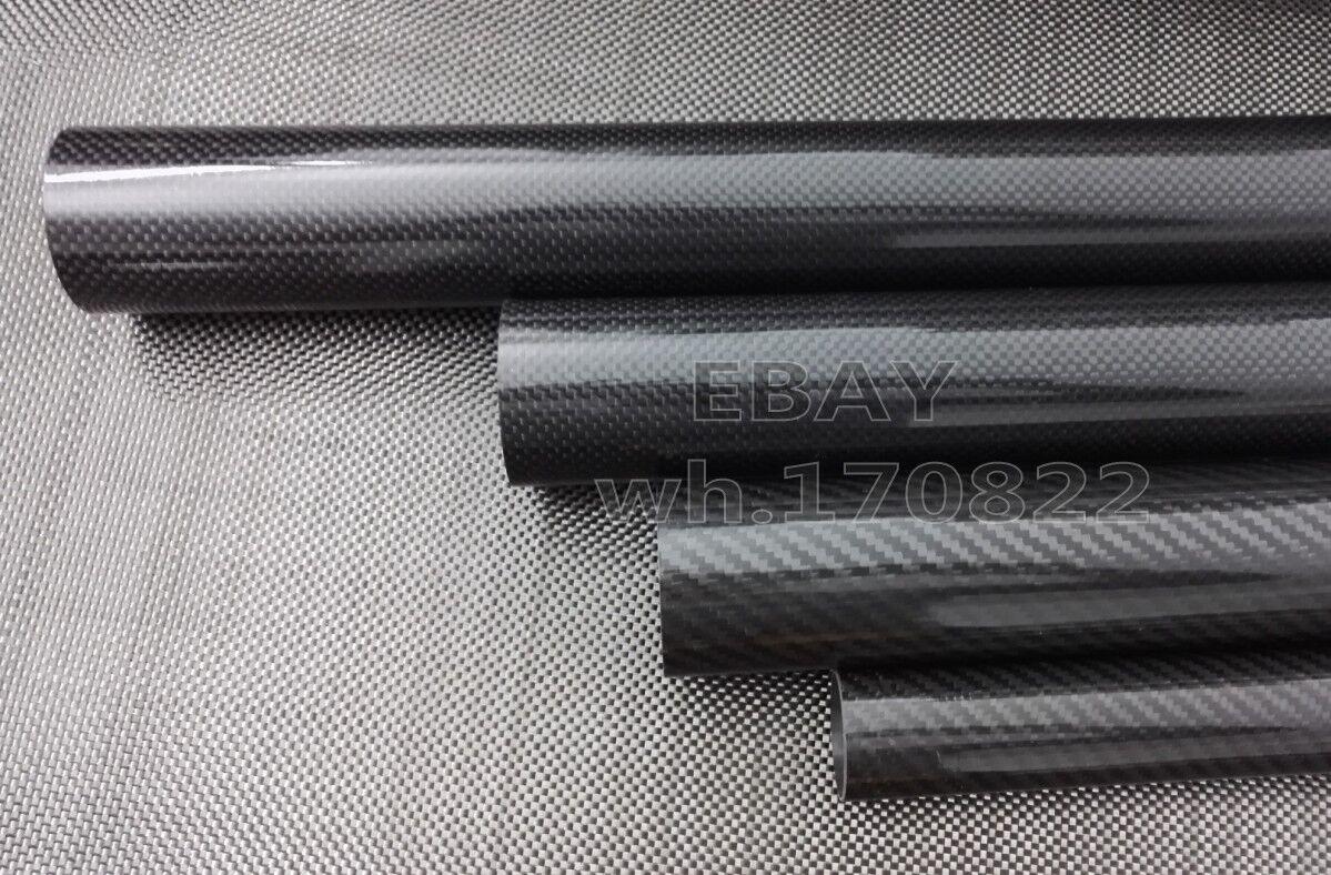 1-4pcs Roll Wrapped Carbon Fiber Tube 3K 46mm*44mm*500mm Worldwide Glossy 46*44