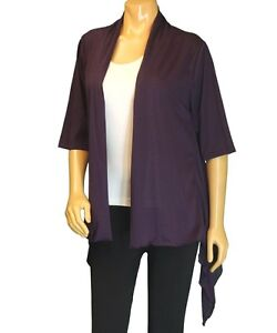 New Women's Plus Size Short Sleeve Eggplant Cardigan (Sweater ...