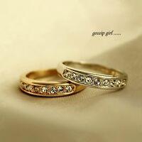 18K White / Rose Gold GP Classic Wedding Engagement Ring With SWAROVSKI Crystal