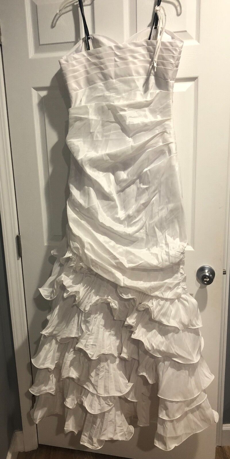 Dalia MacPhee Strapless Taffeta Tiered Mermaid Ruffle White White White Wedding Gown Dress   b24286