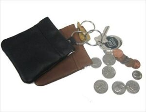 Black-Small-Squeeze-Leather-Change-Coin-Money-Mni-Purse-Key-Ring