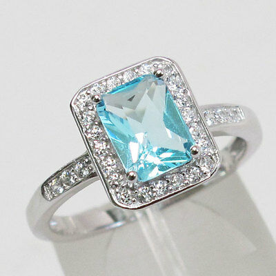 1.38 Ct Green Simulated Emerald Sky Blue Aquamarine 925 Sterling Silver Ring