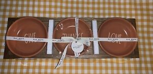 NEW-Rae-Dunn-Orange-Thanksgiving-Fall-Tasting-Bowls-Set-Of-3-With-Wood-Tray