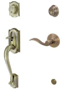 Schlage Camelot Double Cylinder Antique Brass RH Handleset Accent Lever Deadbolt