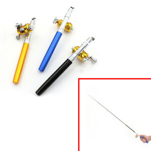 Details about Mini Pocket Telescopic Fishing Pole Pen Folded Fishing Rod with Reel Wheel HGUK