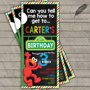 Image Is Loading Sesame Street Ticket Birthday Party Invitations Elmo Abby
