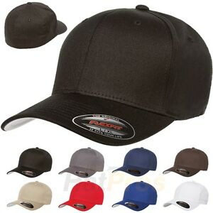 V-Flexfit-Cotton-Twill-Baseball-Cap-Fitted-Flex-Fit-Ballcap-Plain-Blank-Hat-5001
