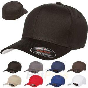 V-Flexfit Cotton Twill Baseball Cap Fitted Flex Fit Ballcap Plain ... 1ea6459edb8