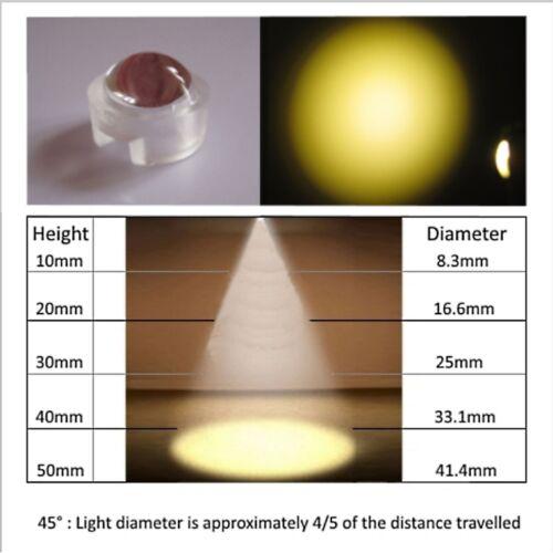 Push-fit Lentes Para 1w 3w Leds 45 Y 60 grados de ángulo de acuario de grow luz Lente