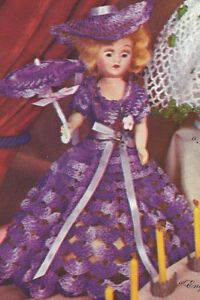 "Vintage Crochet PATTERN 8/"" Doll Clothes Dress Hat Parasol Britain Miss England"