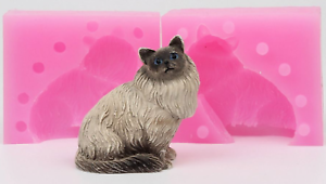 Persian Cat Kitty 3D Resin Soap Cake Fondant Silicone Mold Chocolate Clay Mould