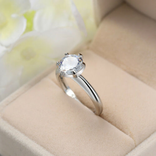 Round Cut AAA Cubic Zirconia Band Women/'s Anniversary 925 Silver Ring Size 6-10