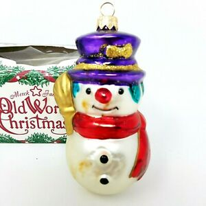 Vintage-Made-in-Germany-Blown-Glass-Snowman-Christmas-Ornament-Original-Box-0357