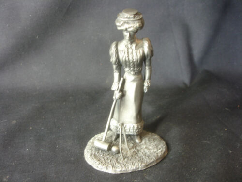 18761895 The Franklin Mint Pewter The Gibson Girl Playing Croquet Figurine