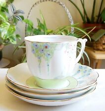 Art Deco Bell China England #4597 Pink Blue Flowers Green Band 1 Cup 3 Saucers
