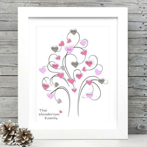 PERSONALISED FAMILY TREE PRINT WALL ART NEW HOUSE WARMING GIFT UNFRAMED