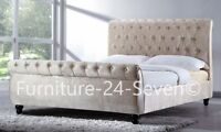 Champagne Chesterfield Velvet Fabric Designer Bed Frame With Mattress Options