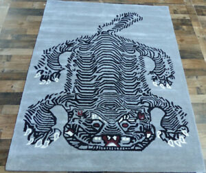 5-039-x7-039-Brand-New-fine-Tiger-design-100-wool-black-Gray-Modern-Oriental-area-rug