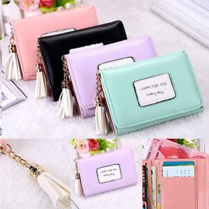 b7e09f5c14e Details about Women Mini Tassel Wallet Card Holder Clutch Coin Purse  Leather Handbag Purse BH