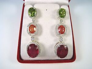 25-43-CTW-RUBY-SAPPHIRE-amp-PERIDOT-EARRINGS-WHITE-GOLD-over-925-STERLING-SILVER