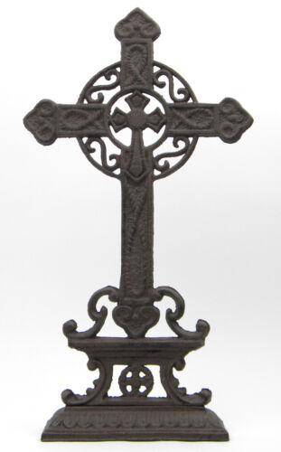Stehkreuz Kruzifix Guss Grabschuck schwarz Gothic Deko Keltisches Kreuz