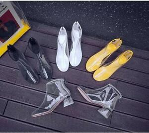 Womens-Transparent-Candy-Booties-Shoes-Block-S4-White-Stylish-Nightclub-Back-Zip