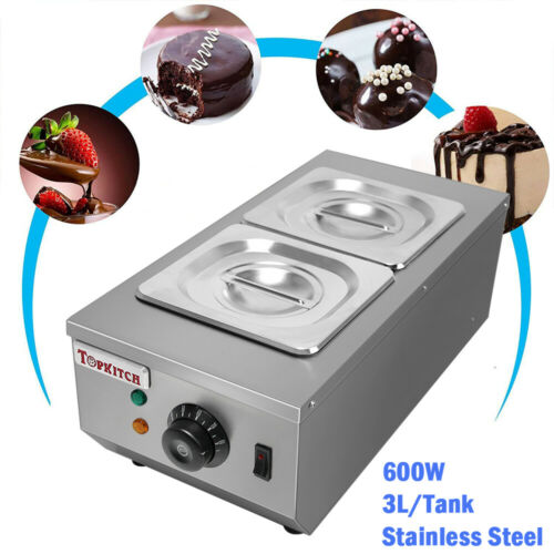 Electric Chocolate Melting Machine Tempering Heater Melter 2 Pots 6L 220V 600W