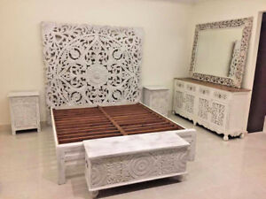 Image Is Loading Indian Antique Style Bedroom Furniture Mango Wood Decorative