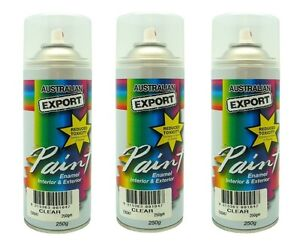 3 X Australian Export Spray Paint Cans 250gm Clear 100 Brand New