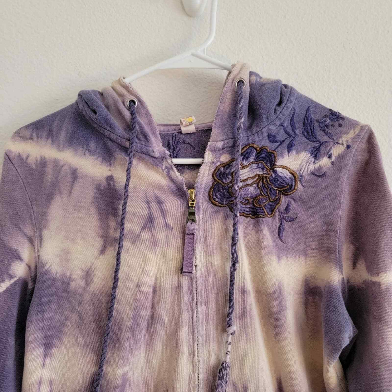 Penelope Violet Tie-Dye Embroidered Zip Up Sweater - image 2