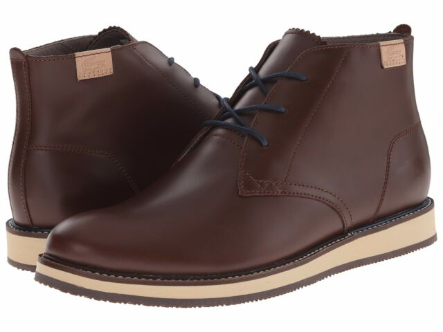 4198fdfc55d Lacoste Millard Chukka 2 Leather Sneakers Shoes Dark Brown Ankle Boots Men