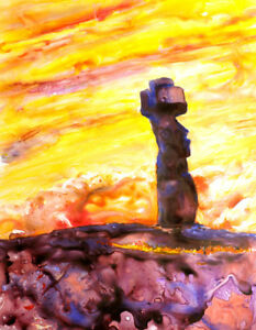 Easter-Island-watercolor-painting-Fine-art-print-of-solitary-Moai-statue
