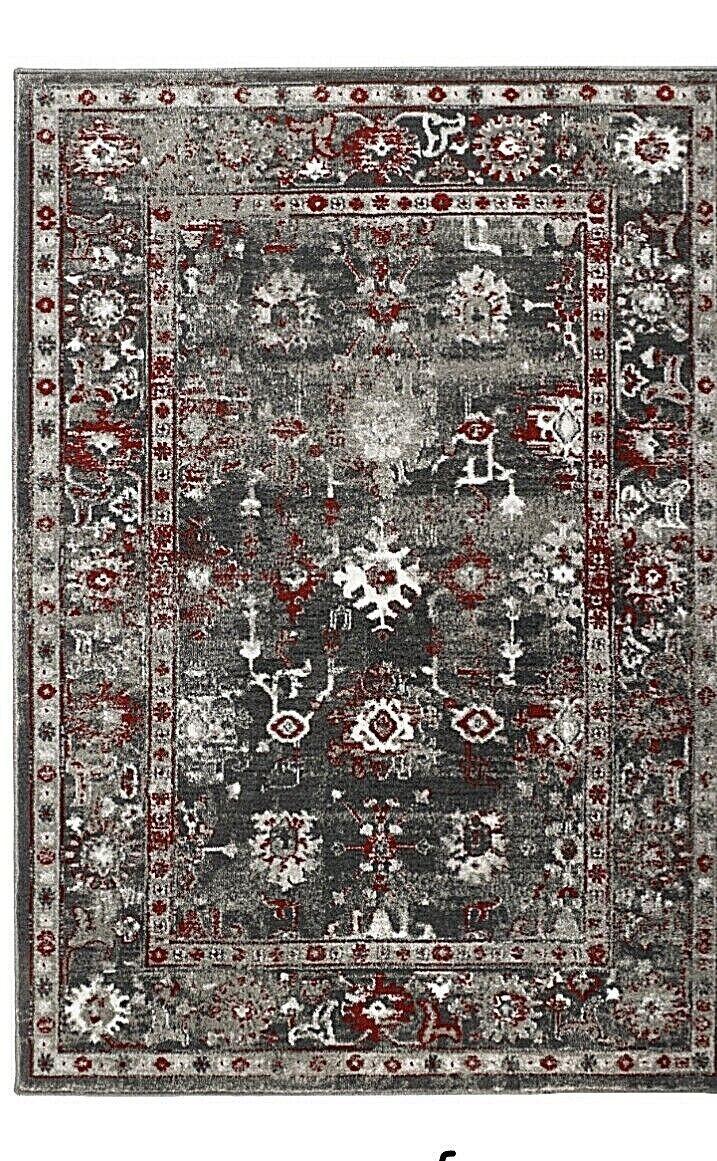 Origine Anatolia Turca Stile Vintage Tradizionale Classico Tappeto Grigio Rosso 3 Taglie