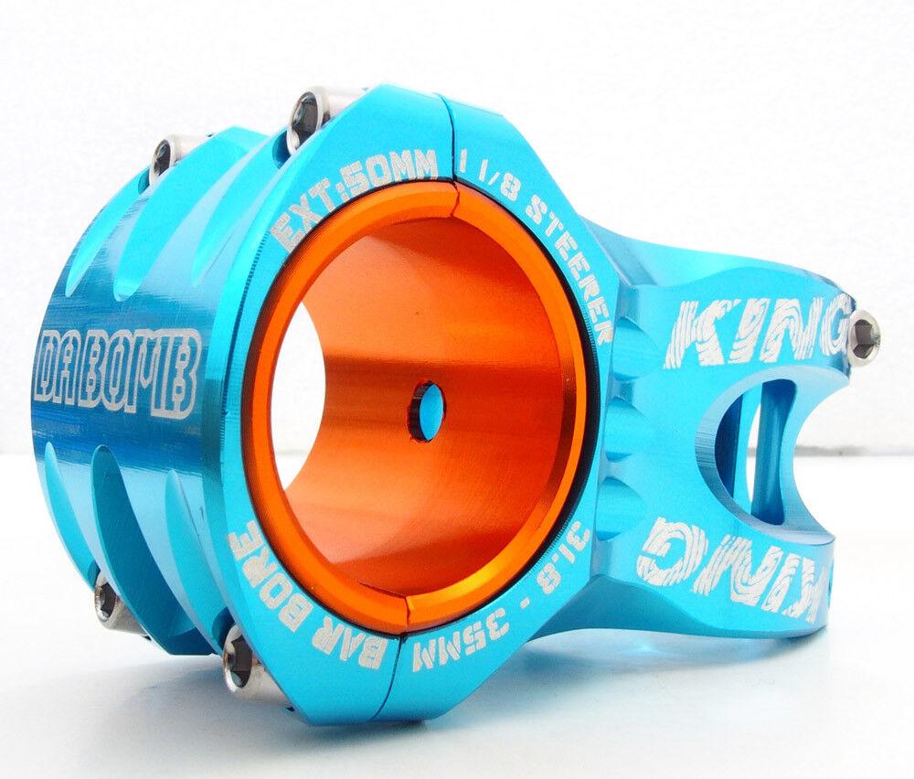 DaBomb King DH FR Stem, 0 Deg, 50mm, 1 1 8  steerer, 31.8 35 Bar Bore, blueee