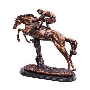 amazing racing horsing and rider bronze figurine home decor amazing horse statue ebay. Black Bedroom Furniture Sets. Home Design Ideas