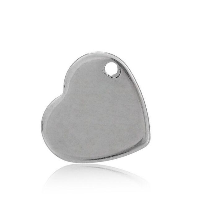 10 Silber Edelstahl Herzanhänger Charms für Halskette 1.1x1cm