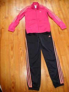 Détails sur Survêtement Adidas noir et rose taille 14 ans