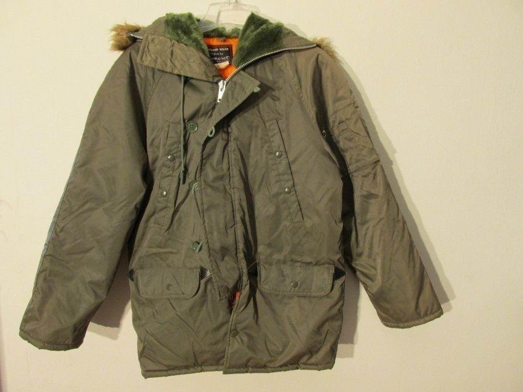 S7211 N3B Style 1970's Men's Small Faux Fur Trim Hood Full Zip Lined Coat