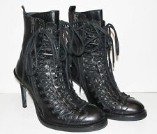 36.5 ANN DEMEULEMEESTER Black Leather Victorian Triple Lace Up Stiletto Boots