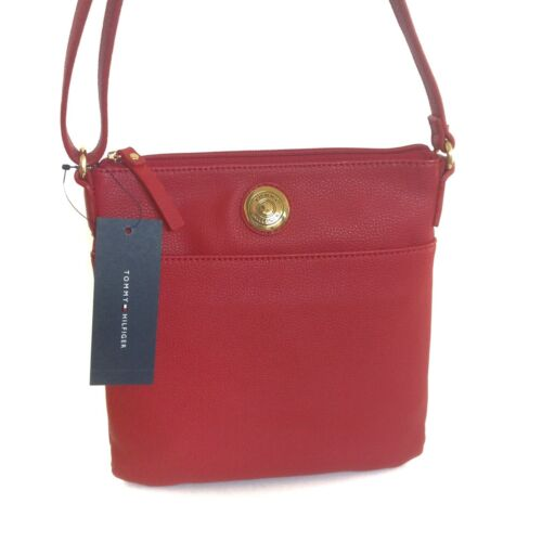 Gold NWT Tommy Hilfiger Womens Purse Crossbody Red Pebbled Leather Shoulder Bag