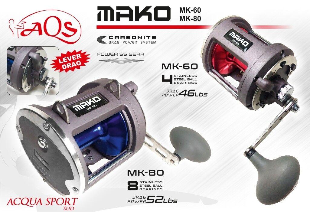 Mulinello Mulinello Mulinello da Traina AQS Acquasport Mako Mk 60-80 Frizione a Leva-Trolling Reel 612a46