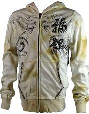 KEY CLOSET Zip Iconic Men's Hoody/Jacket with Tribal Bulls Print Ecru (KCTP002)